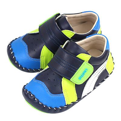 Swan天鵝童鞋-拼接休閒翹頭寶寶學步鞋1526-藍