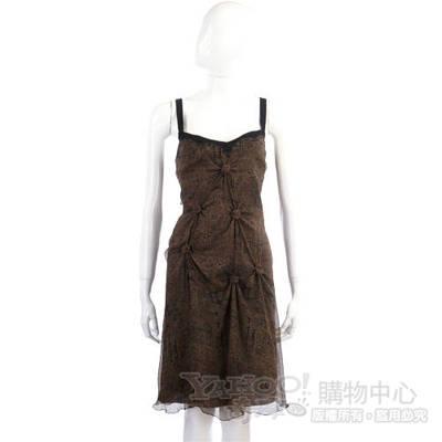 PHILOSOPHY-AF 咖啡色抓結造型細肩洋裝