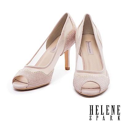 高跟鞋 HELENE SPARK 奢華幻彩晶鑽異材質拼接魚口高跟鞋-米