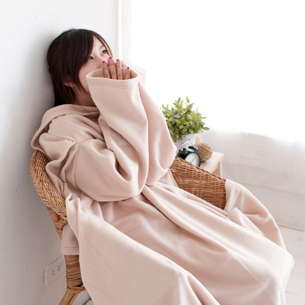 米夢家居-100%台灣製造輕柔懶人袖毯-素雅米色
