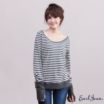 Earl Jean條紋配毛圈布圓領T恤-女-深咖/米白條