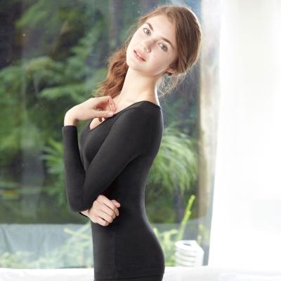 曼黛瑪璉-2015AW素面V領長袖保暖衣M-XL(黑)