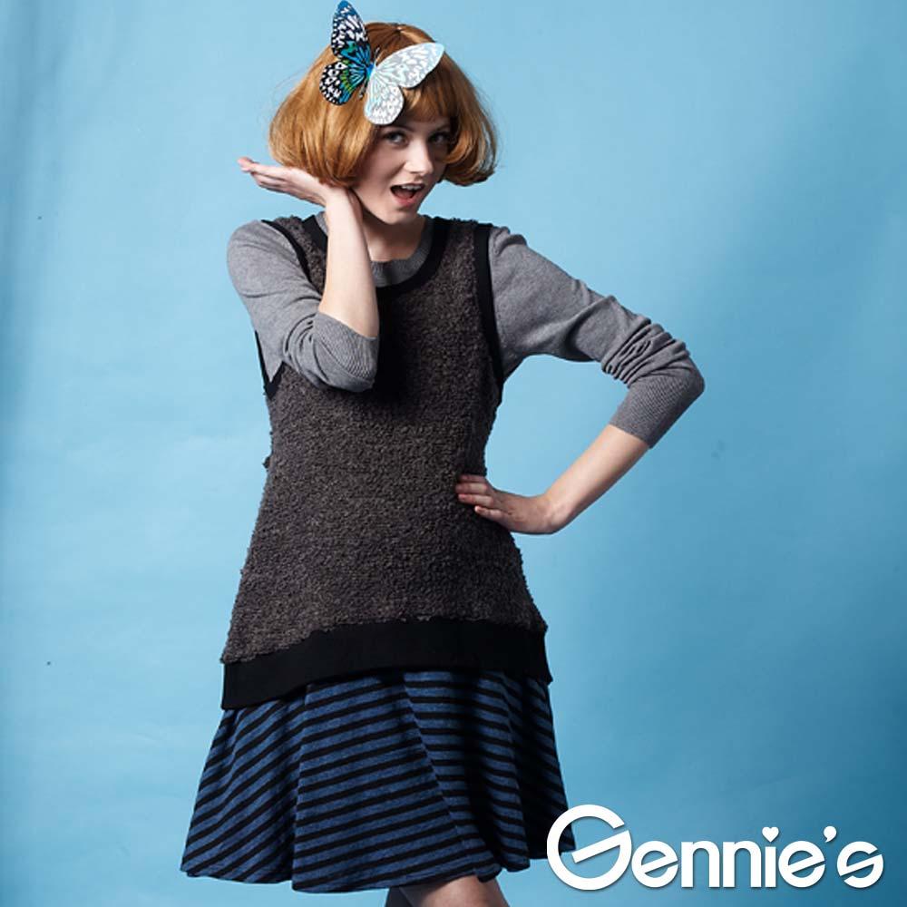 【Gennie's奇妮】暖感時尚羊毛孕婦背心洋裝-灰(G2228)