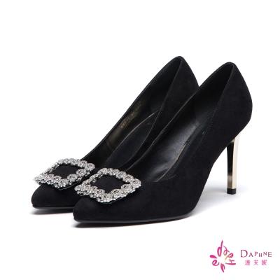 達芙妮DAPHNE 高跟鞋-水鑽方釦絨面高跟尖頭鞋-黑