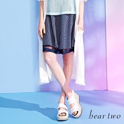 beartwo簡約細條紋網格內裡傘狀裙-深藍色