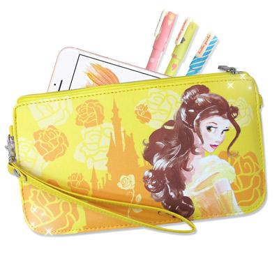 迪士尼正版 美女與野獸貝兒 皮革紋手拿包  萬用手機袋