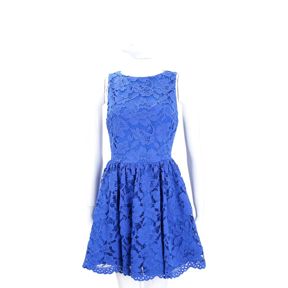 Alice + Olivia 藍色織花蕾絲無袖洋裝