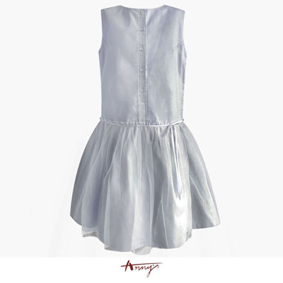 Annys典雅前釦設計蝴蝶結網紗滿擺洋裝*5497水藍