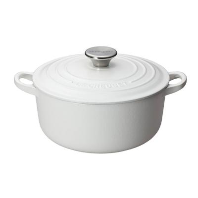 LE-CREUSET-琺瑯鑄鐵圓鍋-24cm-棉花白-鋼頭