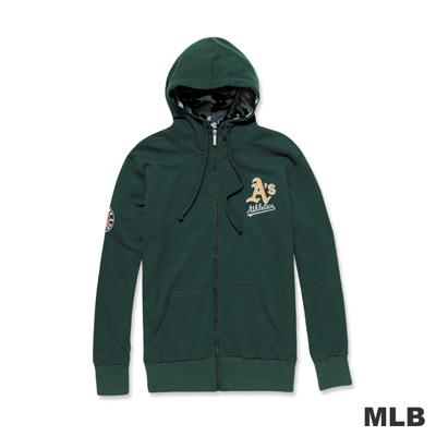 MLB-奧克蘭運動家隊字母LOGO連帽貼布繡厚外套-深綠色(男)