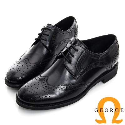 GEORGE 喬治-英倫風雕花繫帶真皮牛津低跟鞋-黑色