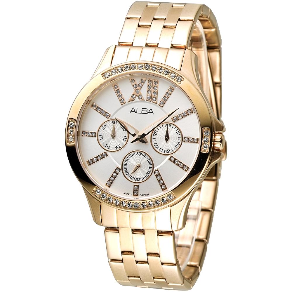ALBA雅柏手錶 浪漫羅馬三眼晶鑽女錶-銀x玫瑰金(AP6214X1)/38mm 保固二年