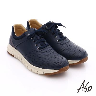 A.S.O 輕量抗震 真皮透氣輕量休閒鞋 藍色