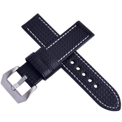 Panerai 沛納海纇碳纖維PU高抗水錶帶-黑/車白線