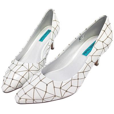 Robinlo Studio 細緻幾何格紋牛皮高跟鞋 白