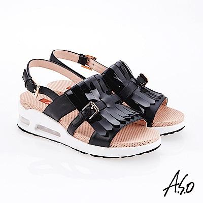 A.S.O 超能力 流蘇設計鏡面皮革奈米鞋墊休閒涼鞋 黑