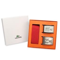 LACOSTE 鏤空鱷魚LOGO扣式雙色皮帶二入禮盒-淺卡其/紅