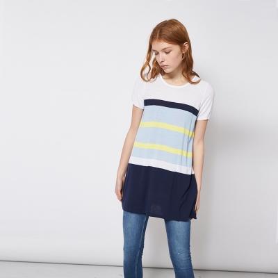 條紋印花好感舒適撞色長版針織造型上衣 兩色
