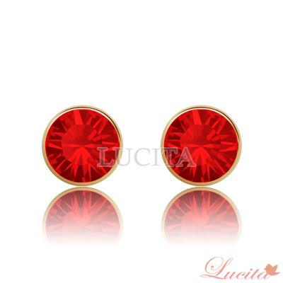 Lucita 耳環 彩鑽金邊耳環 (耀眼紅)