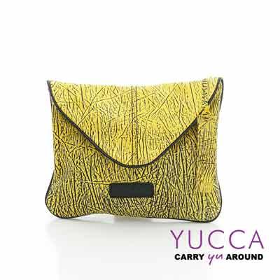 YUCCA - 牛皮新潮個性手拿斜背包-黃色- D0121041