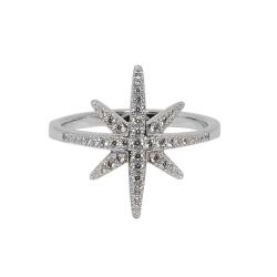 apm MONACO法國精品珠寶 閃耀銀色繁星鑲鋯戒指