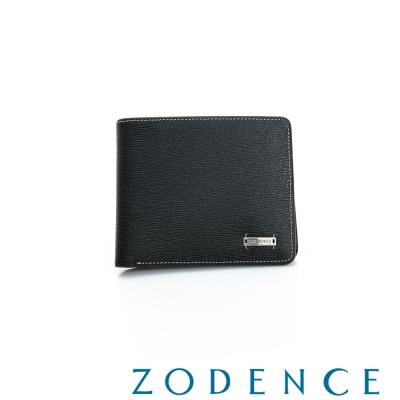 ZODENCE-MAN-紳士系列兩折經典短夾-黑