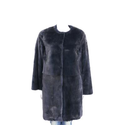 GENNY 黑藍色貂毛皮草羔羊皮大衣