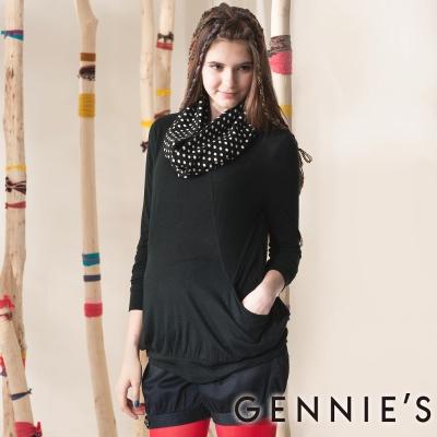 Gennies奇妮-Faravani系列-氣質黑圓點圍巾秋冬上衣(G3407)黑-M
