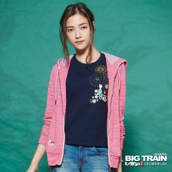 BIG TRAIN 女版雙色竹節連帽外套-女-桃粉