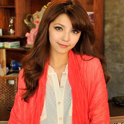 Aimee-Toff-韓版秋冬款純色皺褶加大圍巾-西瓜紅