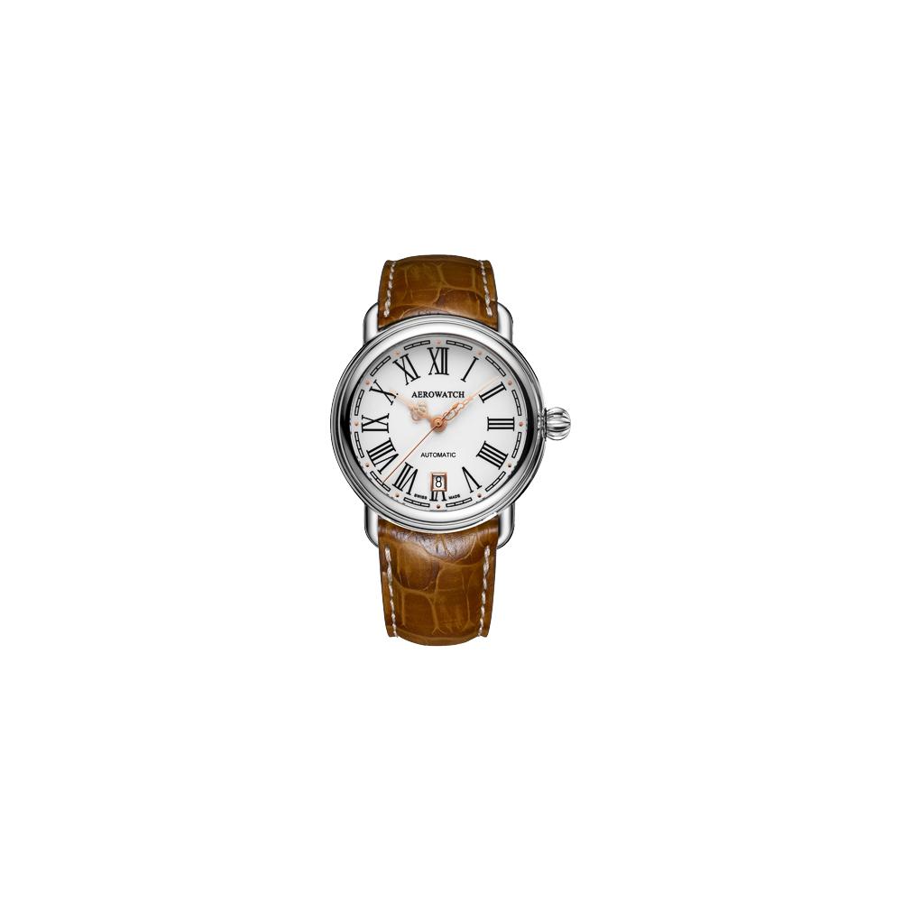 AEROWATCH 古典鏤空指針機械腕錶-銀x咖啡/40mm