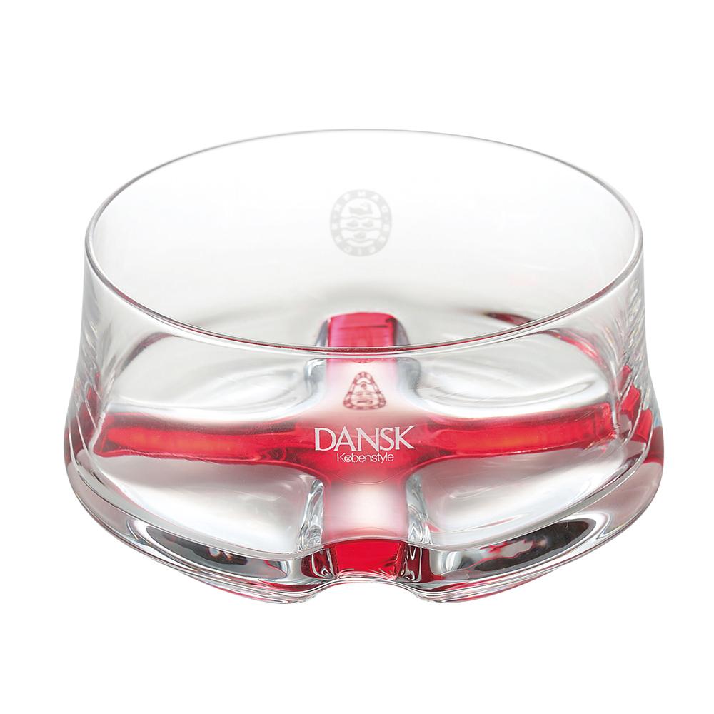 DANSK 晶透質感玻璃碗-400ml(紅色)