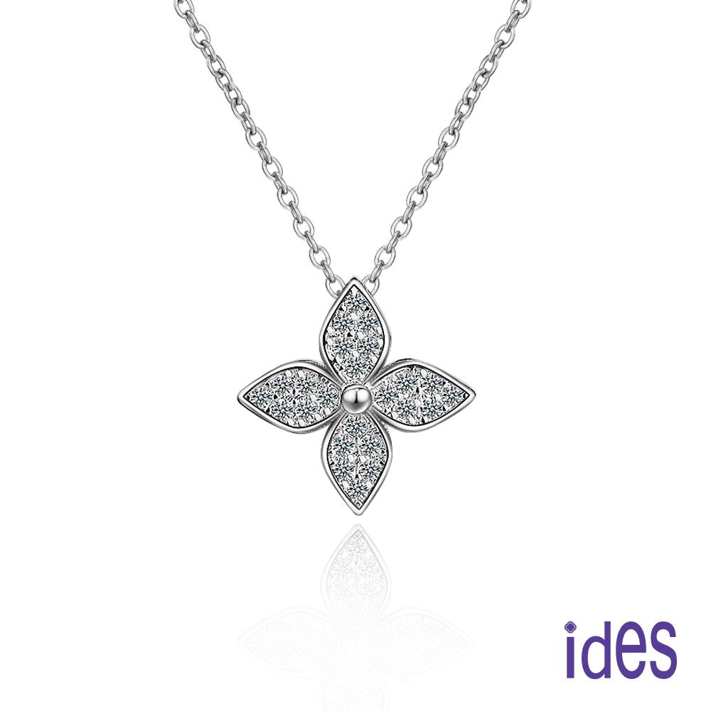ides愛蒂思 輕珠寶。日韓風尚設計925純銀晶鑽項鍊/時尚幸運草