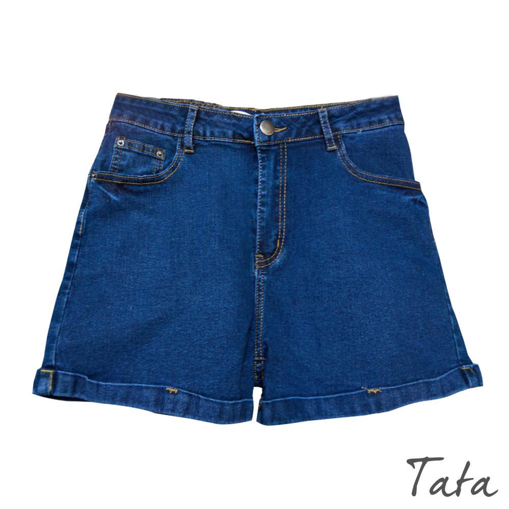 百搭褲口反摺牛仔短褲 共二色 TATA