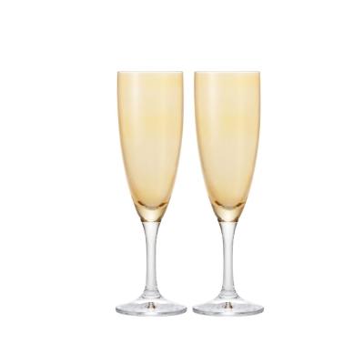 【ADERIA】日本進口香檳酒專用玻璃對杯(橘)