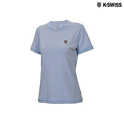 K-Swiss Emboss Poly Tech T運動排汗T恤-女-淺藍