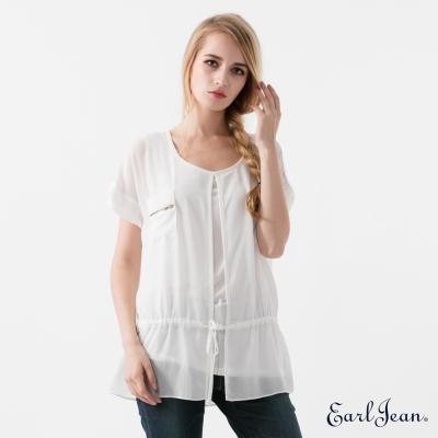 Earl Jean 兩件式雪紡開襟上衣-白-女