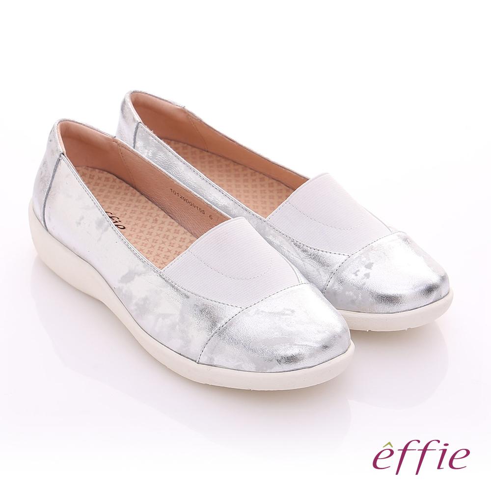 effie 挺麗氣墊 金箔羊皮寬版鬆緊帶奈米休閒鞋 銀色
