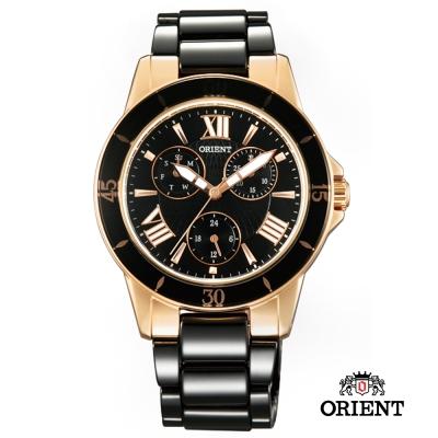 ORIENT 東方錶 CASUAL系列 陶瓷女錶-黑x玫瑰金色/38mm