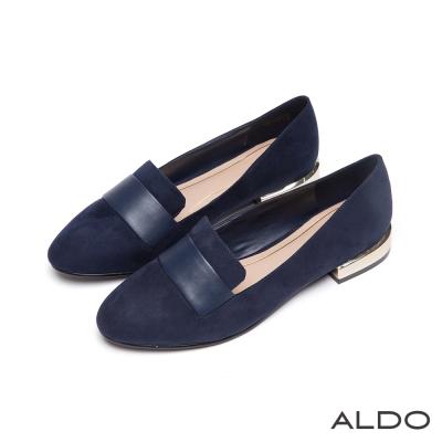 ALDO-法式雅痞原色腰帶雙夾心尖頭樂福鞋-海軍藍