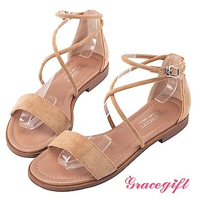 Grace gift-簡約一字交叉繫踝平底涼鞋 淺駝