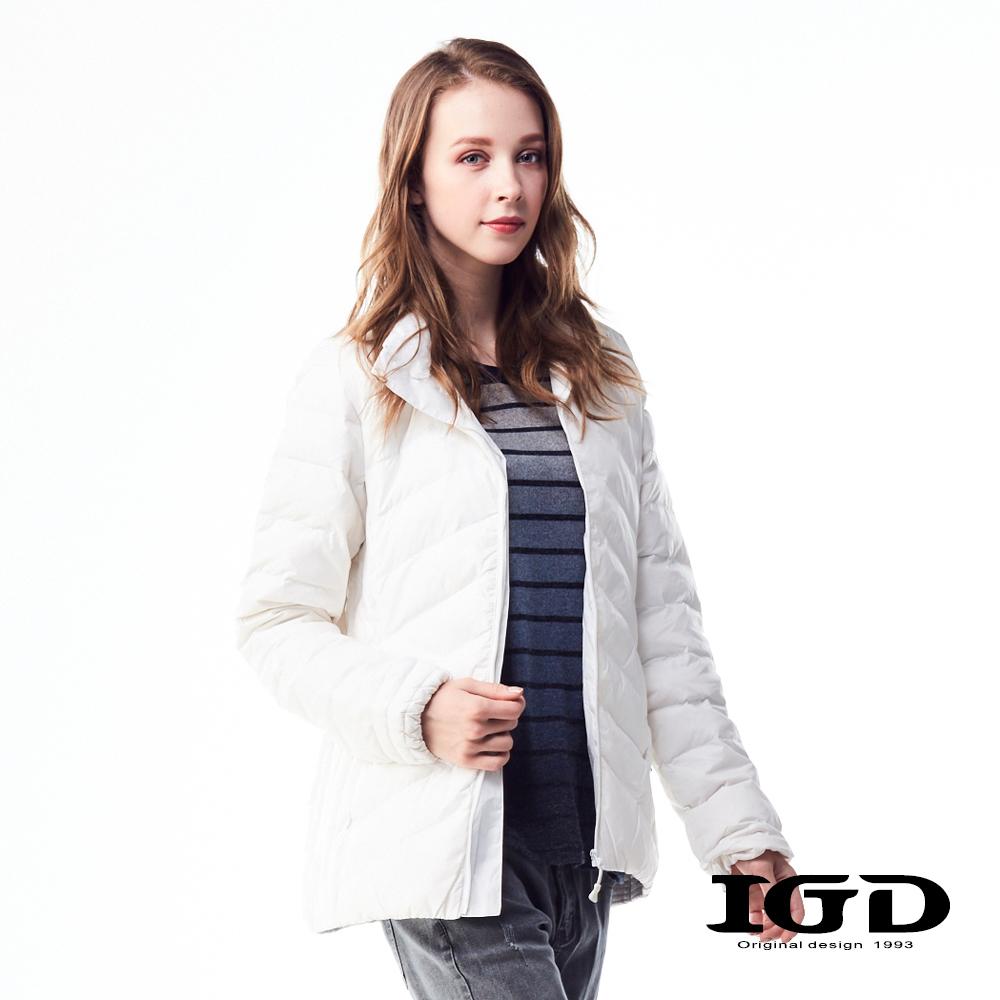 IGD英格麗90輕量保暖短版羽絨外套-白色