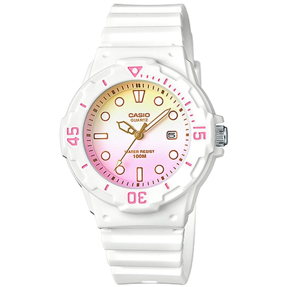 CASIO渲染漸層設計迷你潛水風指針運動錶(LRW-200H-4E2)白x紅粉黃32mm