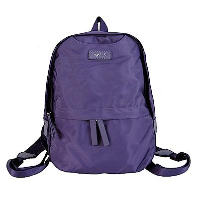 agnes b.尼龍燙銀皮標後背包-迷你紫