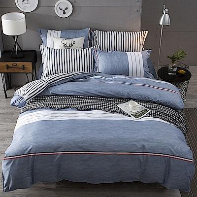 Ania Casa初戀條紋 雙人四件式 柔絲絨美肌磨毛 台灣製 雙人床包被套四件組