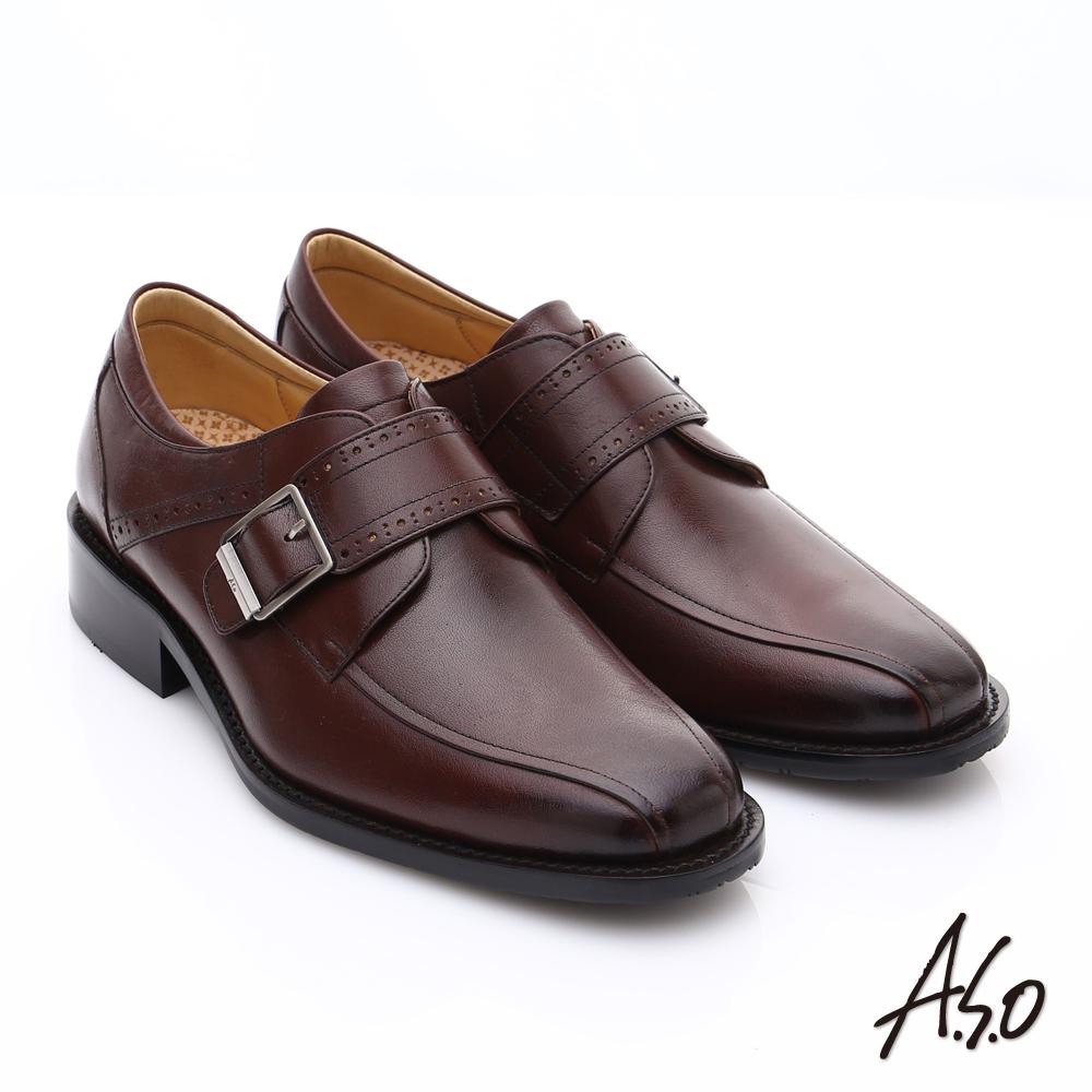 A.S.O 超輕雙核心 牛皮雕花魔鬼氈皮鞋 咖啡色