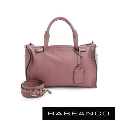 RABEANCO-荔枝紋皮革手提肩背長方肩背包-粉