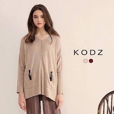 東京著衣-KODZ高質感兔毛皮革裝飾雙口袋設計針織上衣-(共二色)
