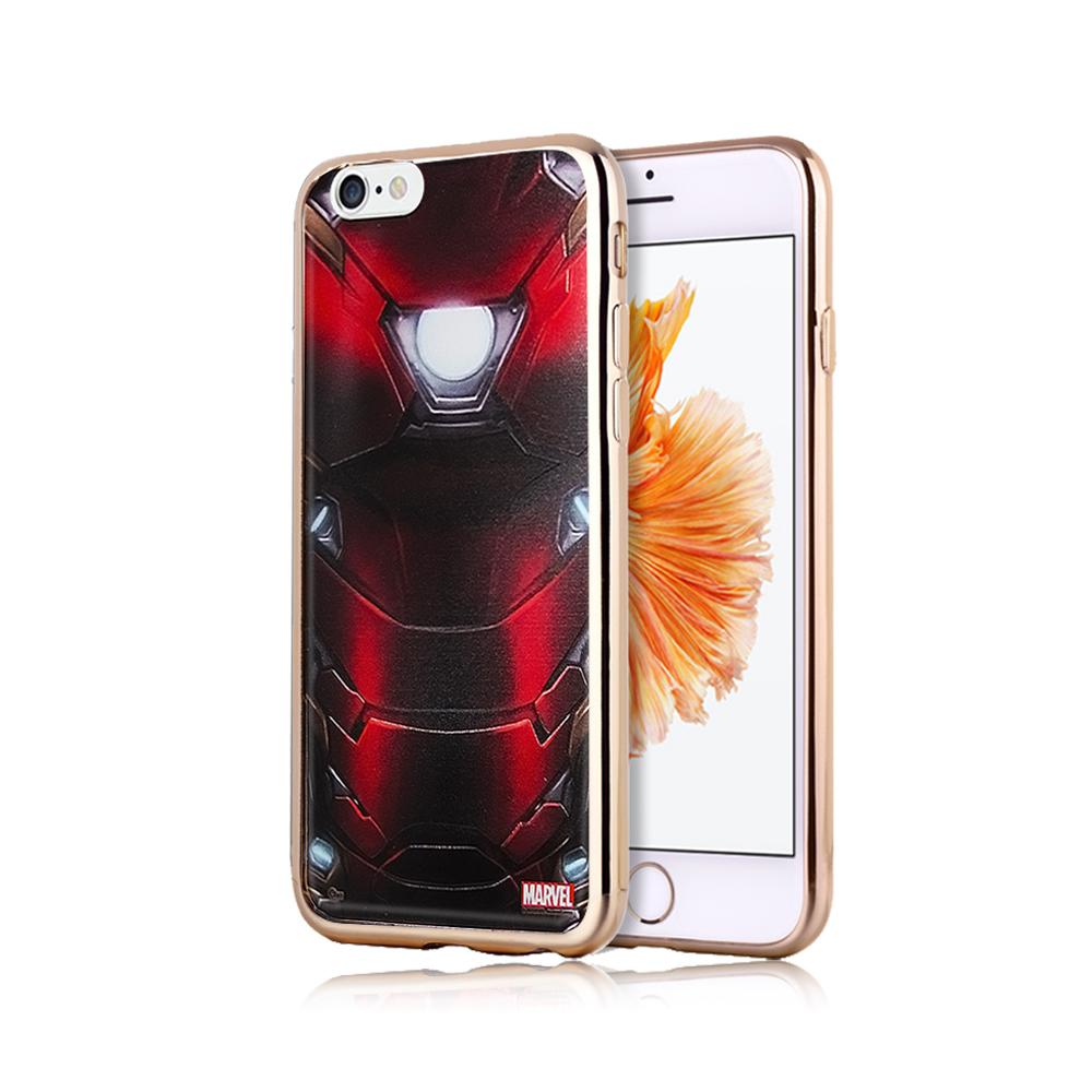 漫威正版 iPhone 6S Plus 5.5吋 美國隊長3 彩繪電鍍手機殼(鋼鐵裝)