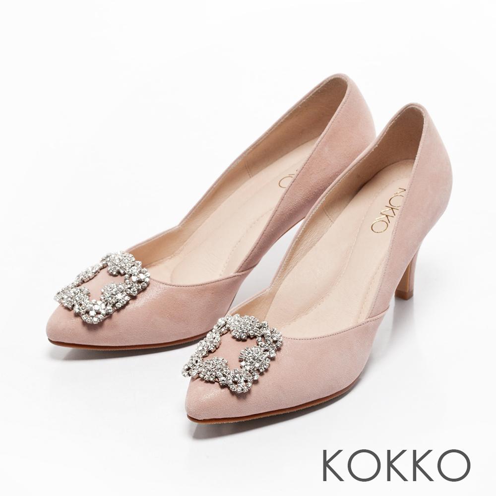 KOKKO -晶燦花嫁鑽扣尖頭高跟鞋-嬌柔粉